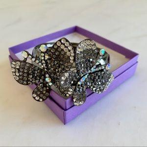 Gray Crystal Butterfly Statement Bracelet